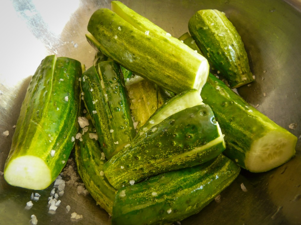 Salting Cucumbers for kimchi