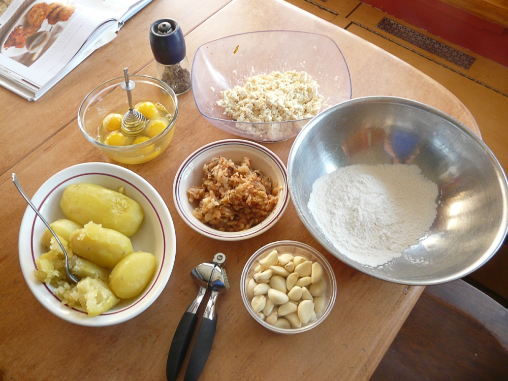 ingredients for gamjajeon potato pancakes with kimchi-1