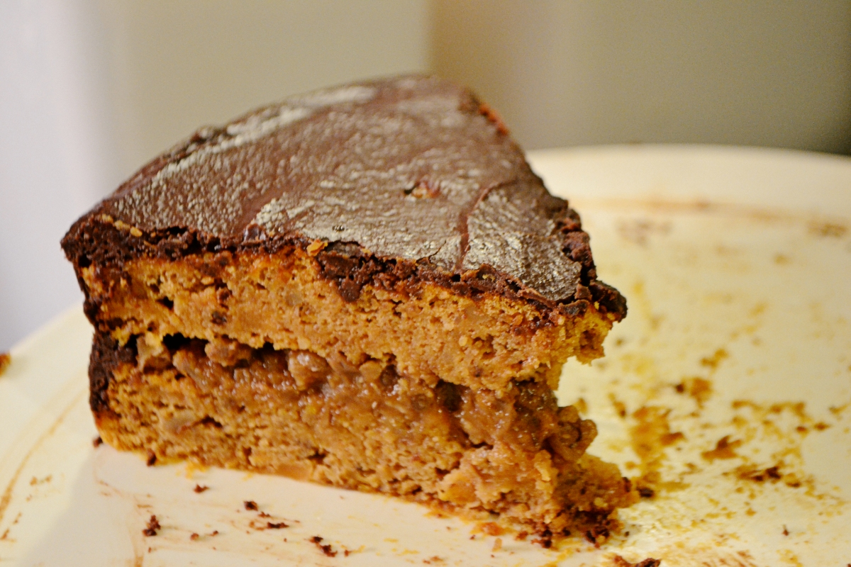 Sweet Potato Chocolate Torte with Walnut Custard Filling