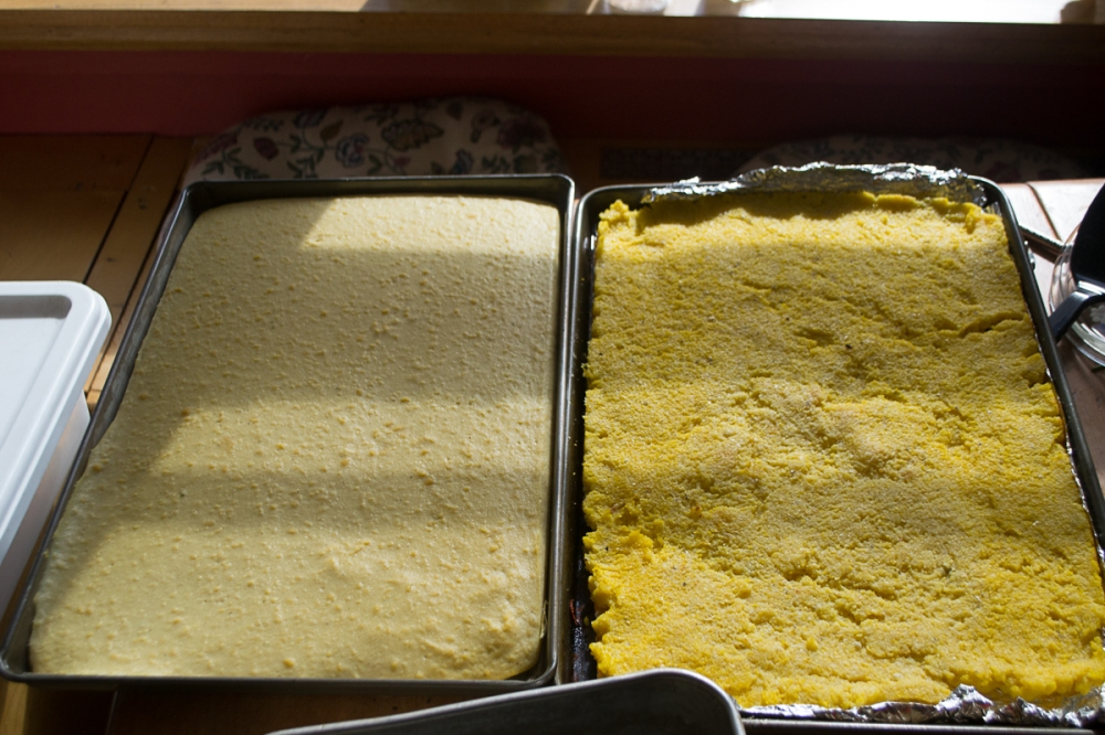 Garbanzo polenta on the left, Cornmeal polenta on the right.