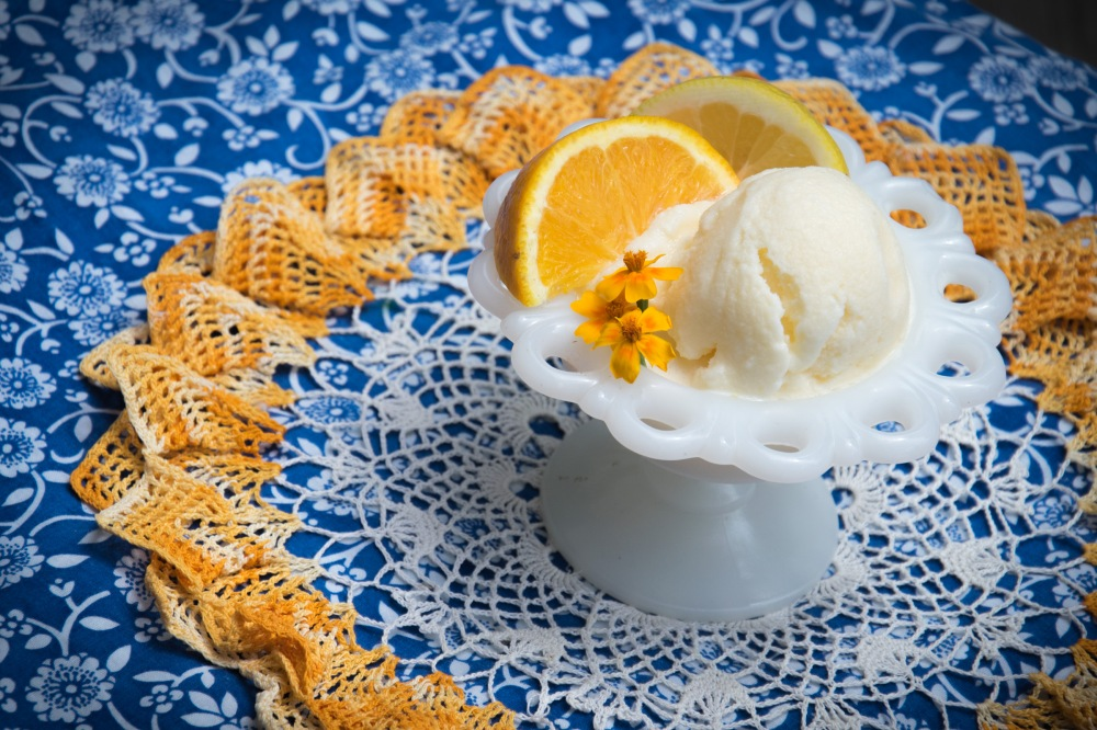 lemon orange ice cream dish