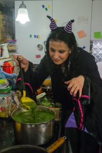 green goddess soup - cauldron to serve