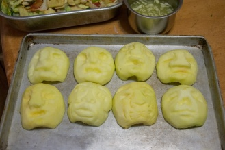 For zombie punch - they've been dipped in lemon juice or fruit fresh water, I think.