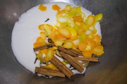 Spices, citrus, sugar