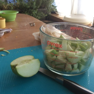 I like to use Granny Smith apples because they're tart and firm - not just mush in the veggie mix