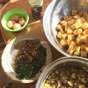 Cornbread dressing ingredients ready to mix
