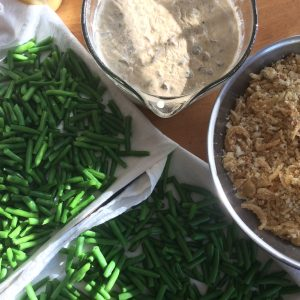 Blanched fresh green beans, chilled mushroom cream gravy, and buttered bread and fried onion topping