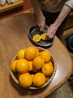 quartering oranges